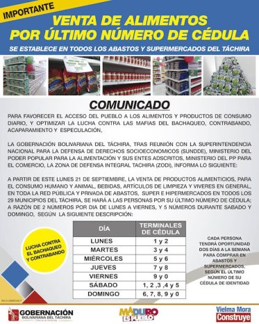 A mandate by Tachira Governor in which the ID terminal system is extended to all districts in the state and it is to be implemented in all types of supermarkets. Source: Tachira Government.